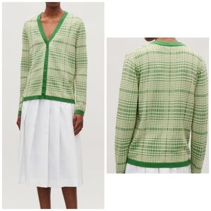 COS Checked Jacquard Knit Cardigan in Green